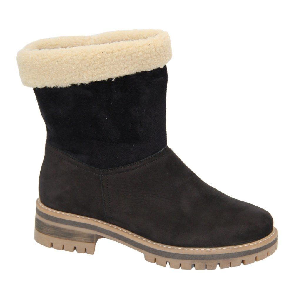 Women's black boots at low speed with a snake winter NEXT SHOES (Poland) Natural nubuck, art 4071 model 4888s